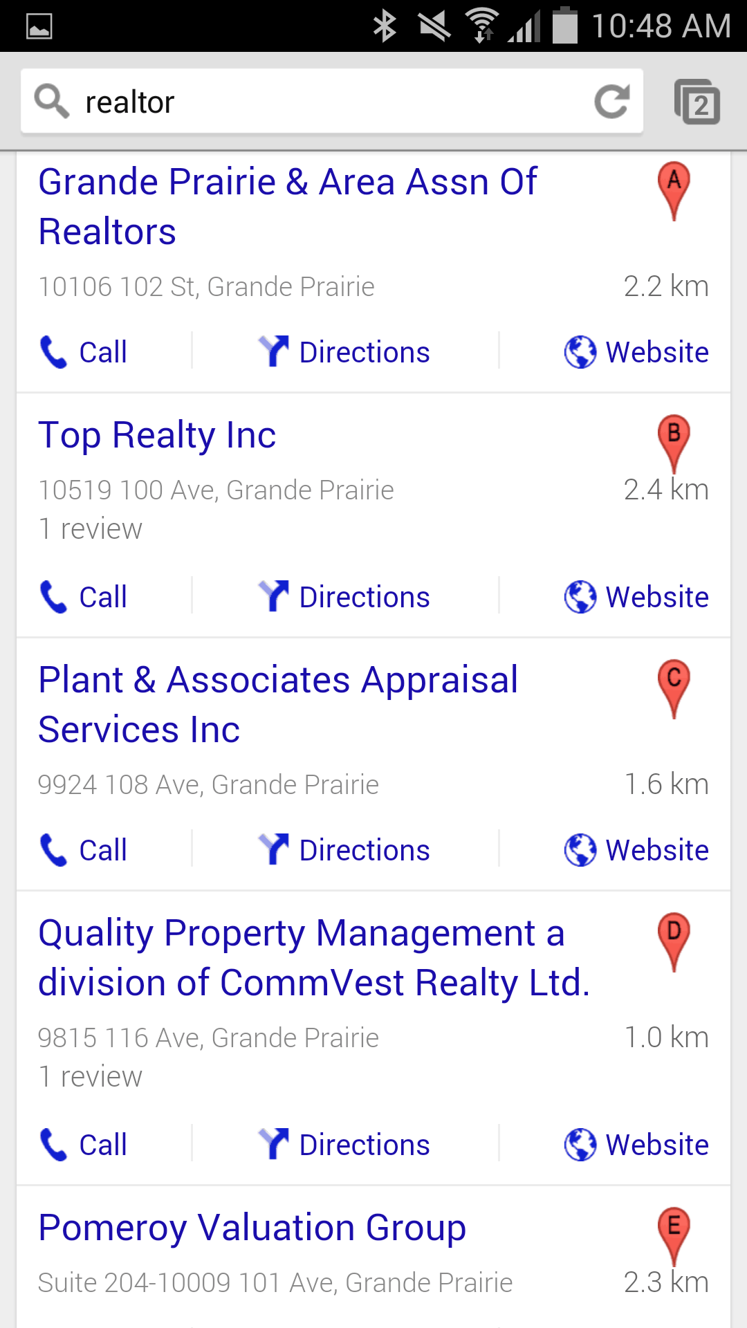 Local SEO results Grande Prairie