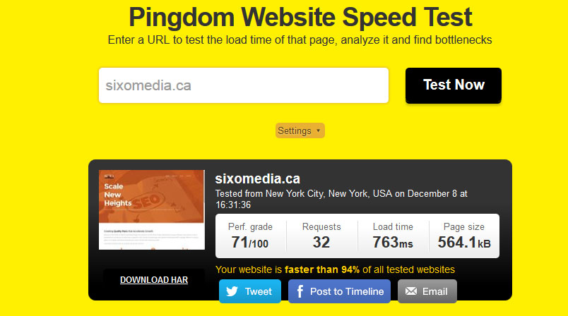 Test Website Speed With Pingdom
