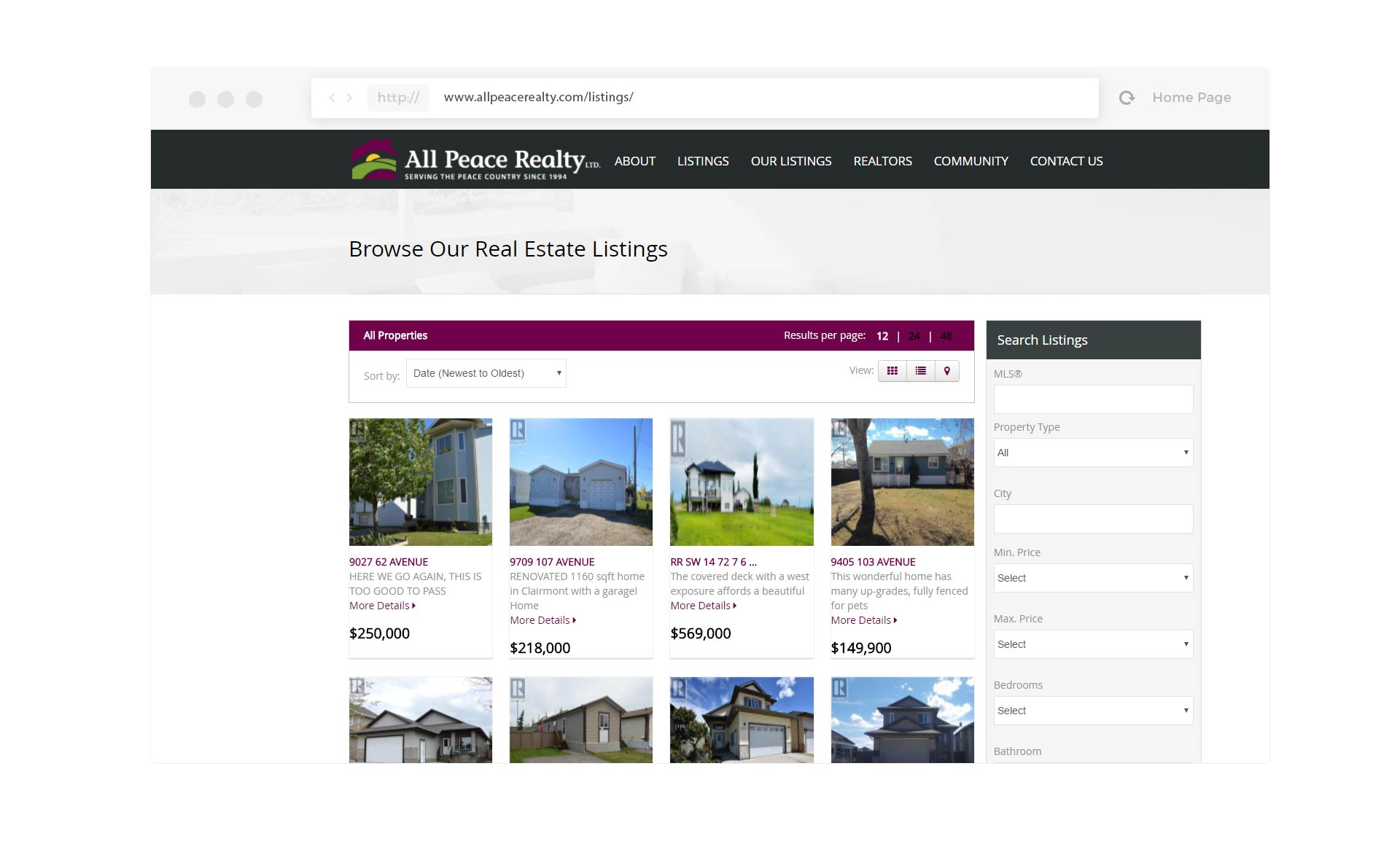 Listings page for website