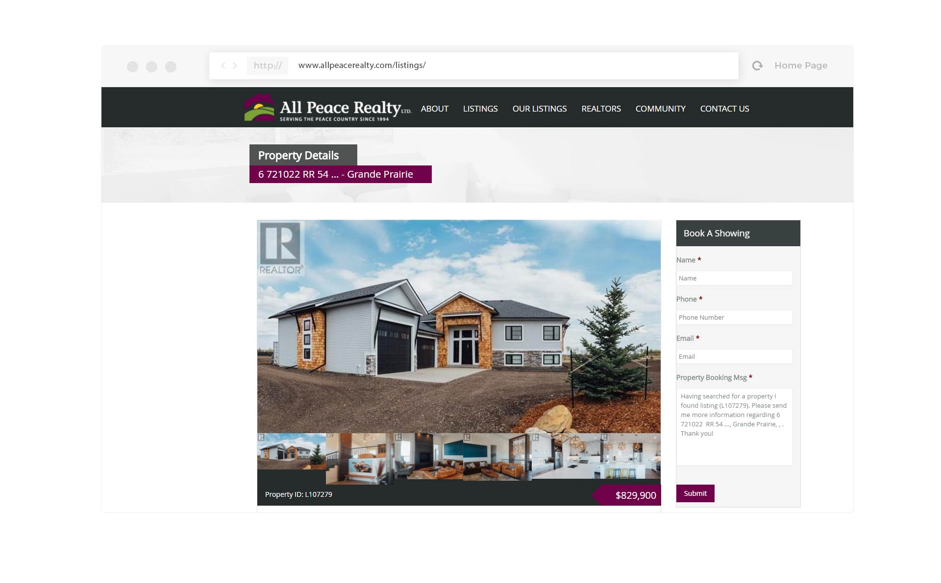 Listings Page for website mockup