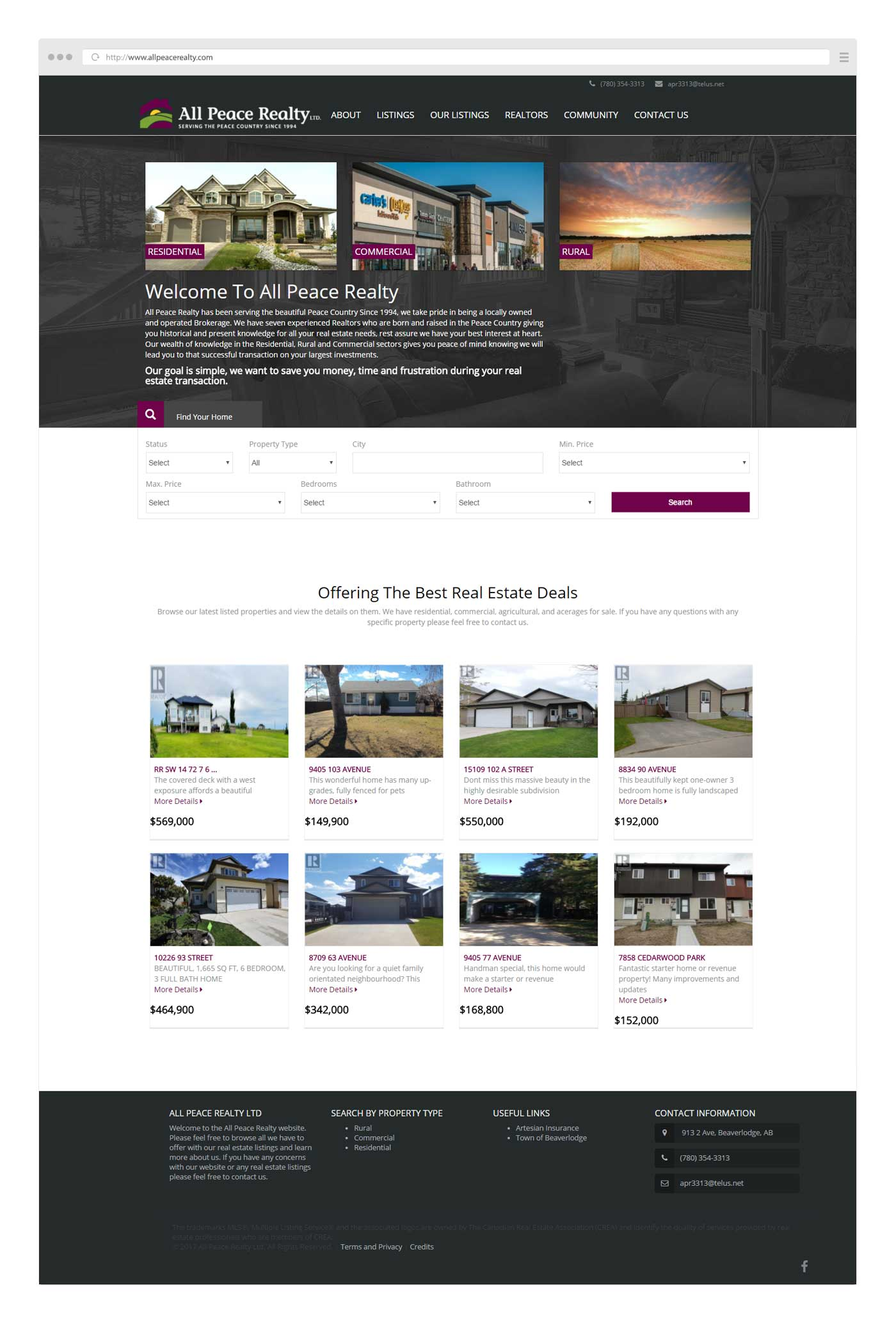 Initial Website Design for All Peace Realty