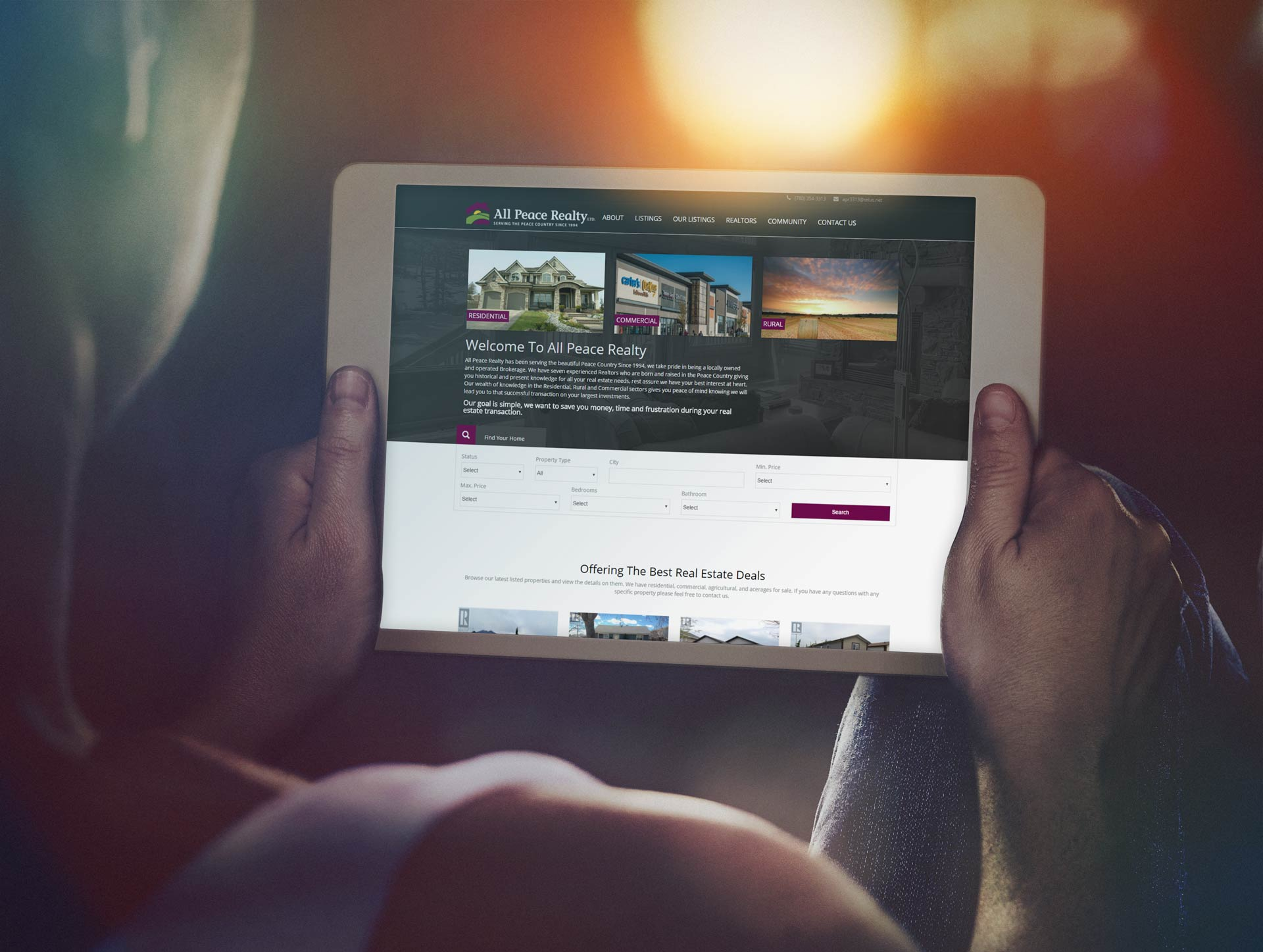 Responsive web design mockup for All Peace Realty