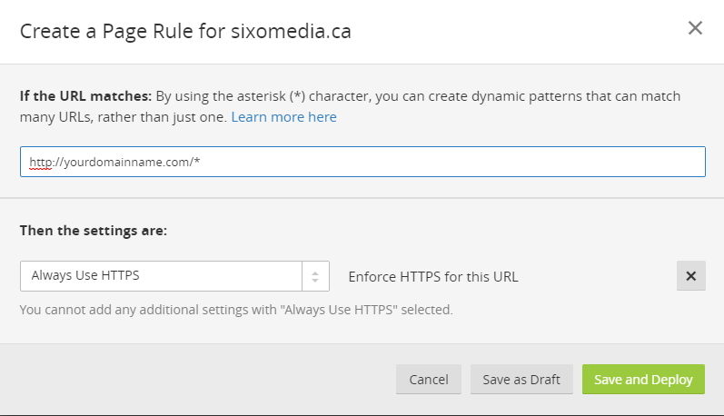 https page rule for Cloudflare and Wordpress