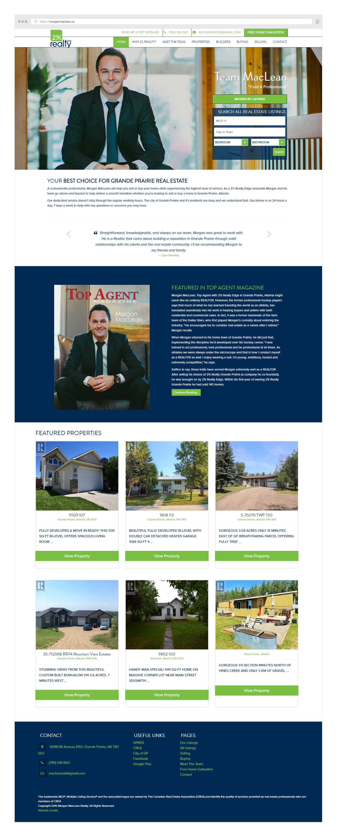 Web Design layout for Team MacLean in Grande Prairie