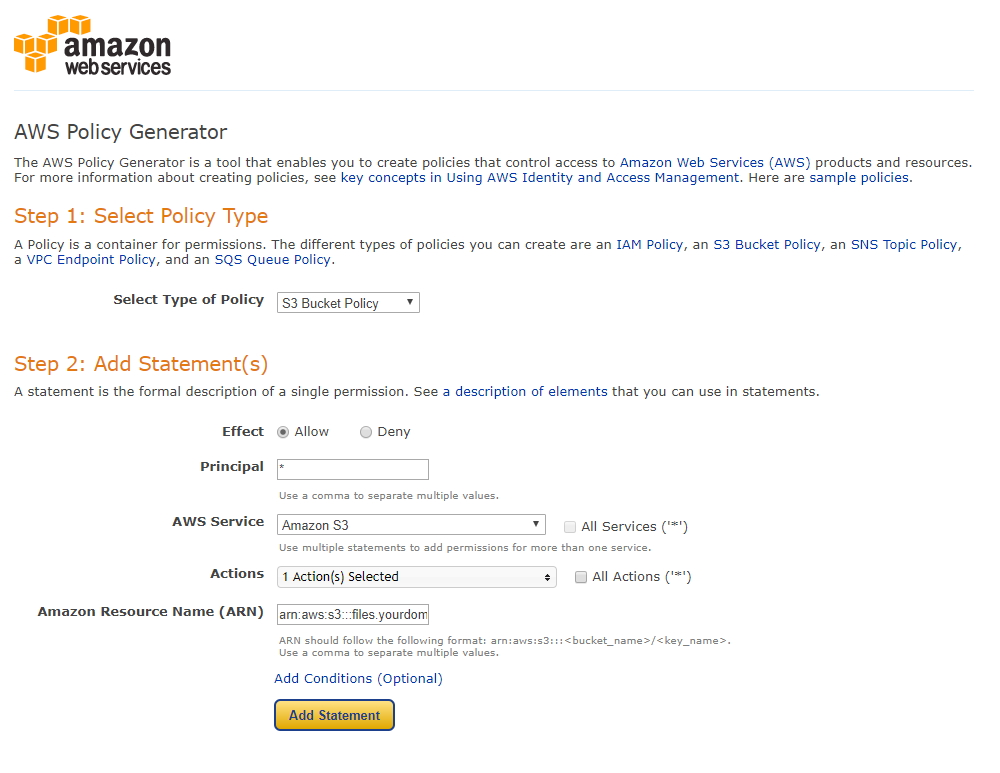 Generating Your Bucket Policy on Amazon S3