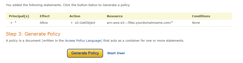 Generate Policy Button Amazon S3
