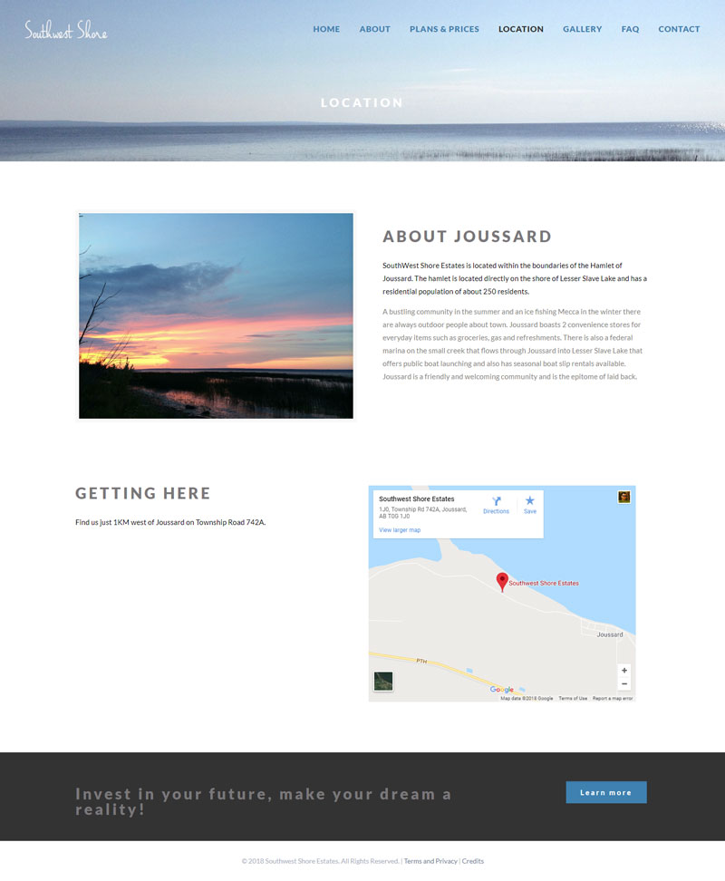 Southwest Shore About Page Website Design